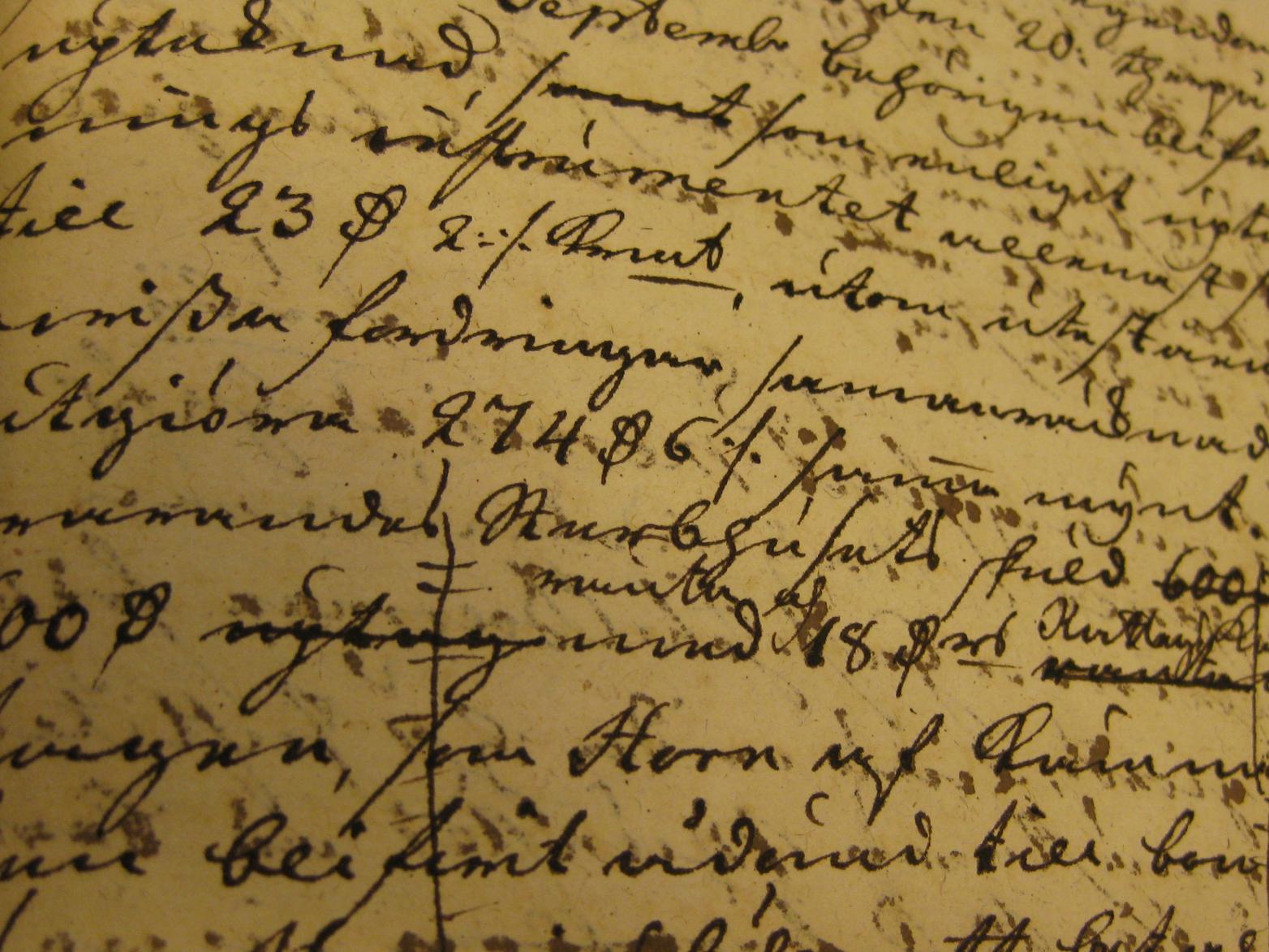 Detalle de un documento manuscrito