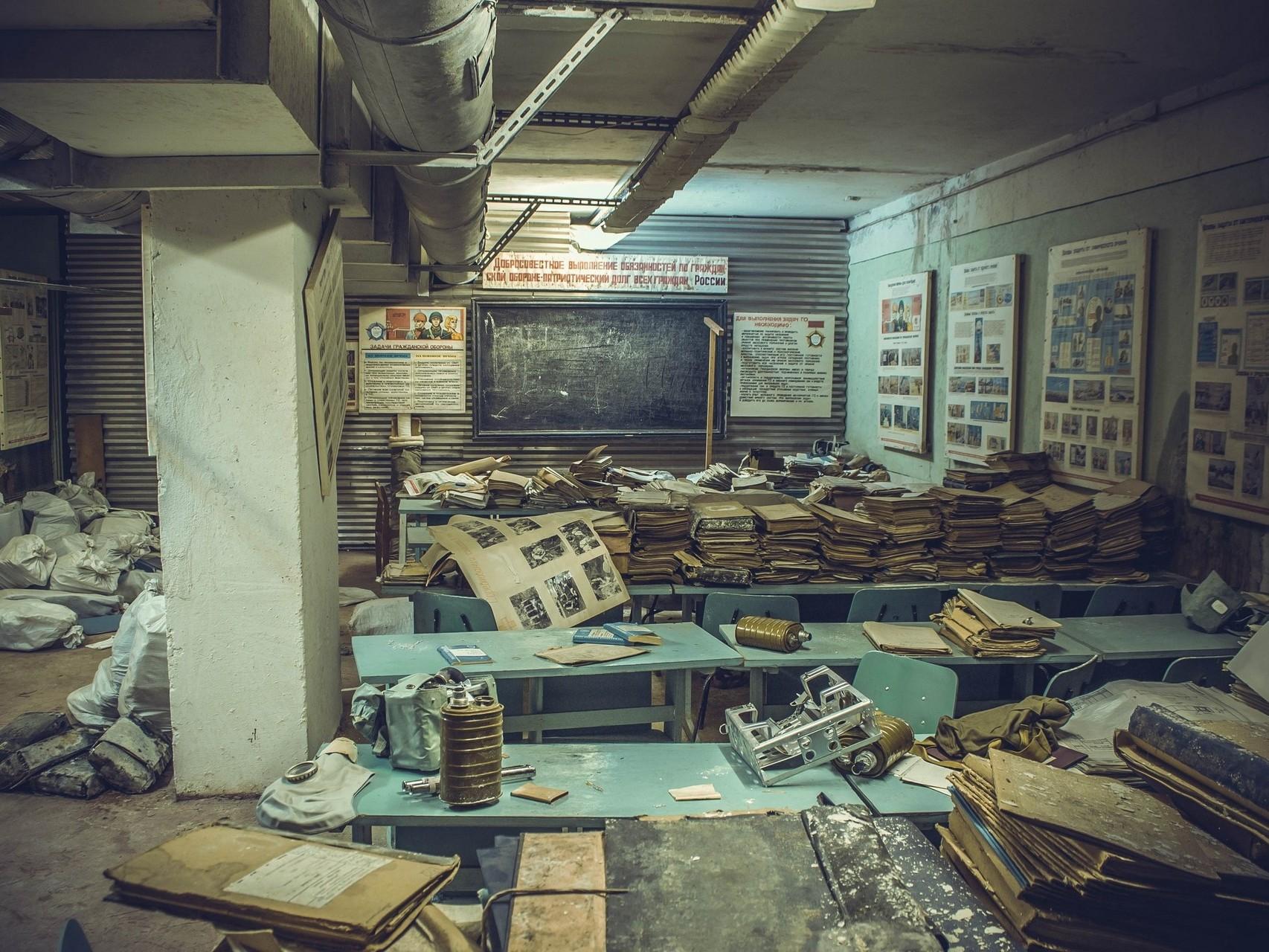 Archivo abandonado en una antigua escuela soviética
