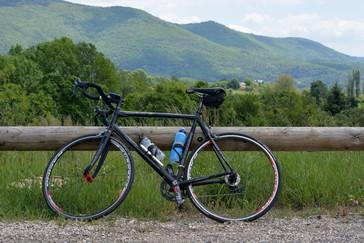Fotografía de una bicicleta en el campo con bosque y montaña en segundo plano