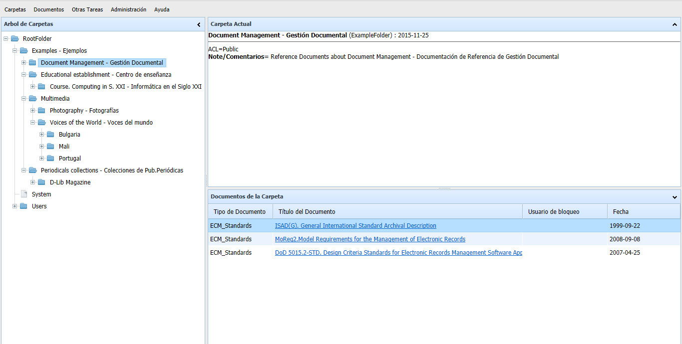 Captura de pantalla de la versión portable web multiusuario de OpenProdoc 2.0