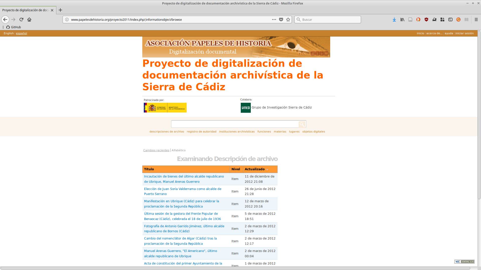 AtoM en la base de datos sobre represaliados por el franquismo en la Sierra de Cádiz