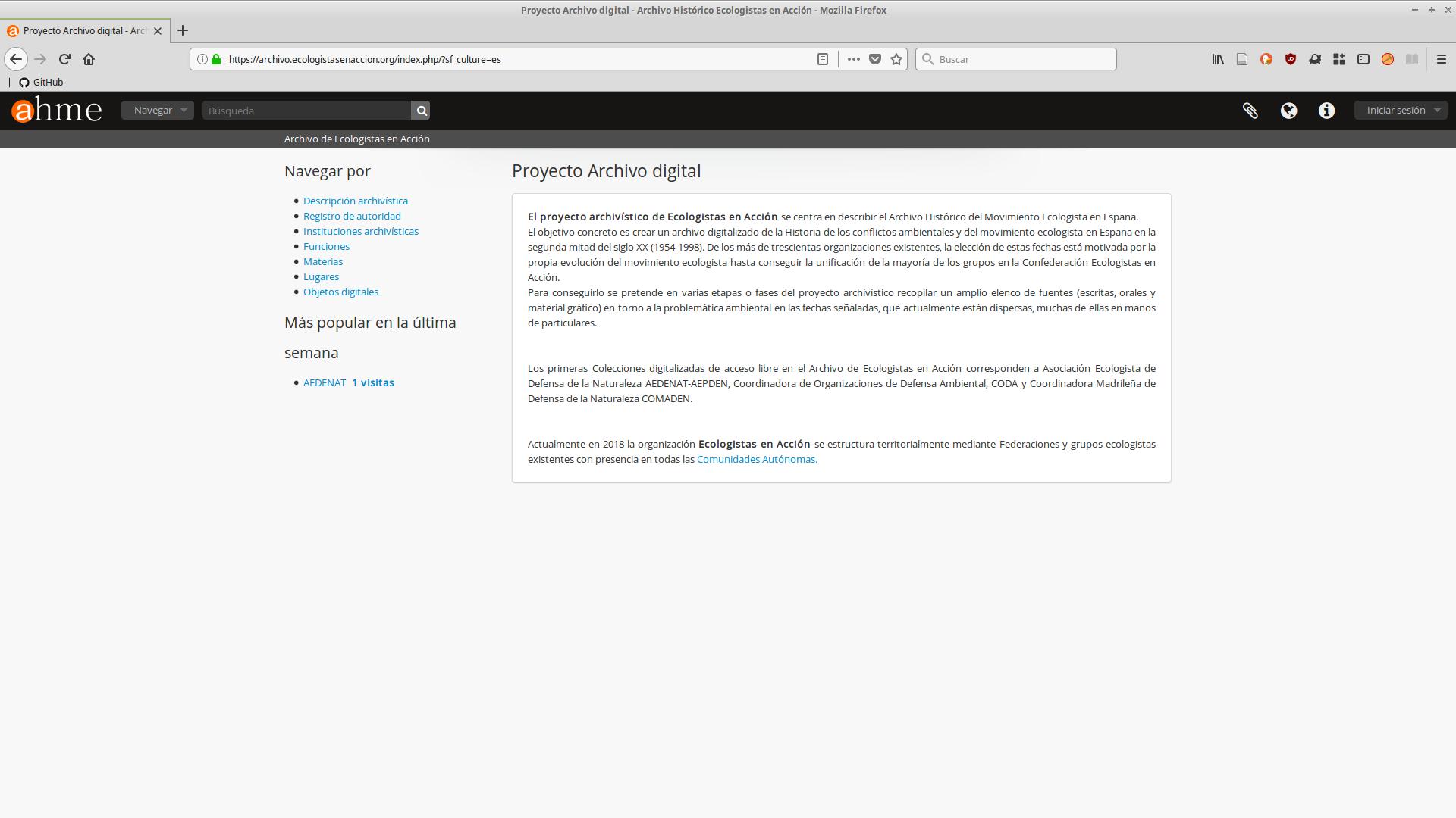 AtoM en el Archivo de Ecologistas en Acción