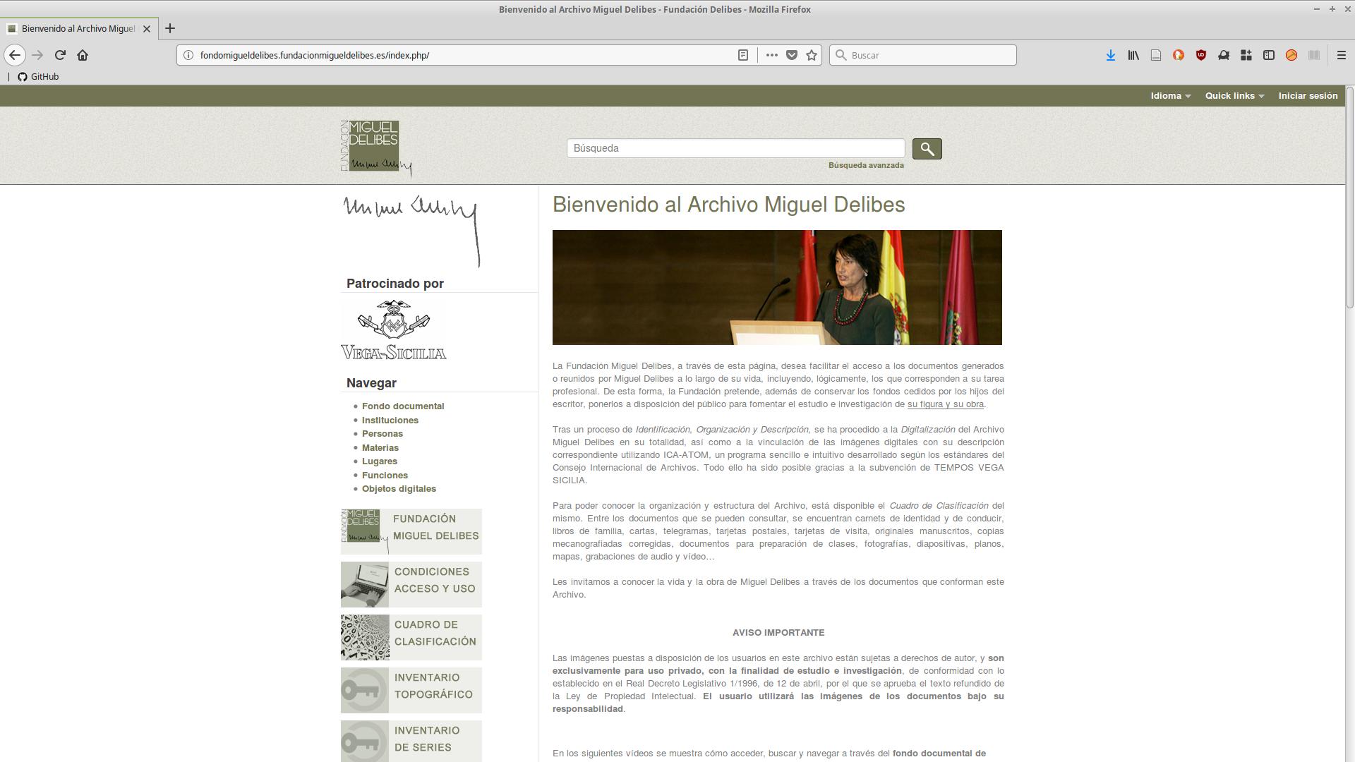AtoM en el Archivo Miguel Delibes