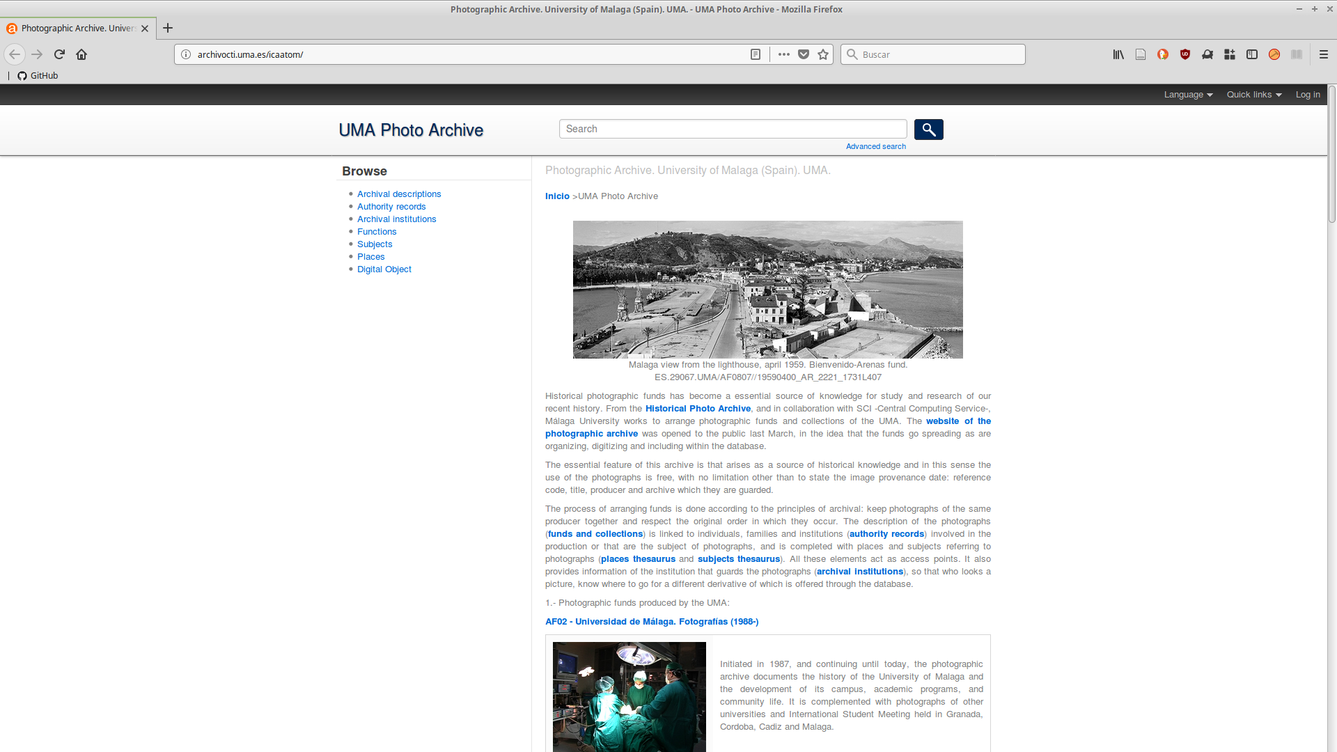 AtoM en el Archivo Fotográfico de la Universidad de Málaga