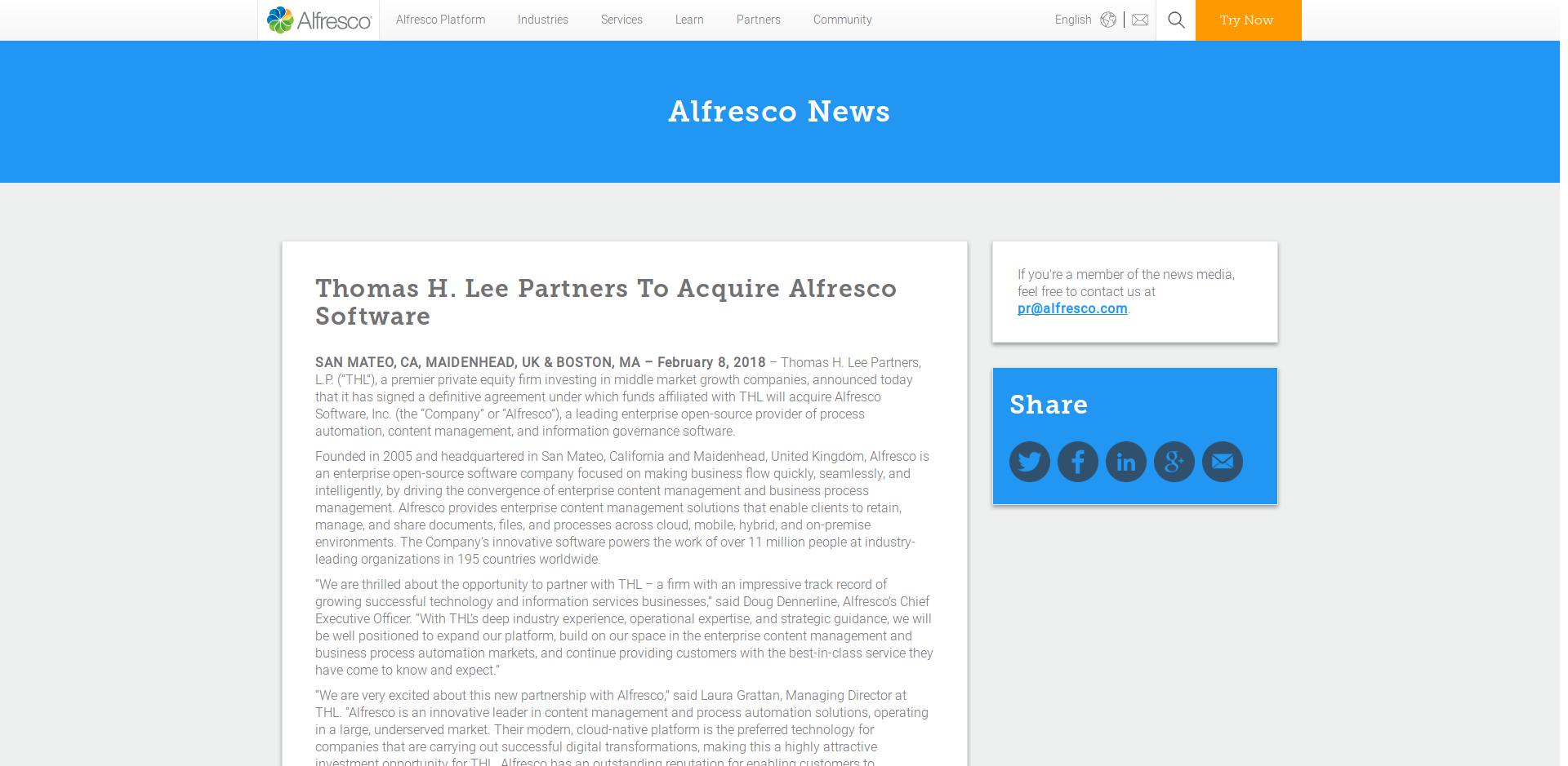 Anuncio de que THL adquiere Alfresco Software, Inc.