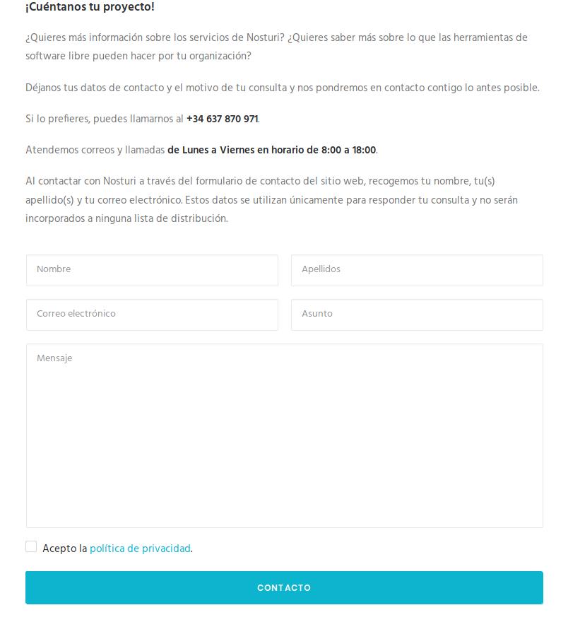 Nuevo formulario de contacto de Nosturi