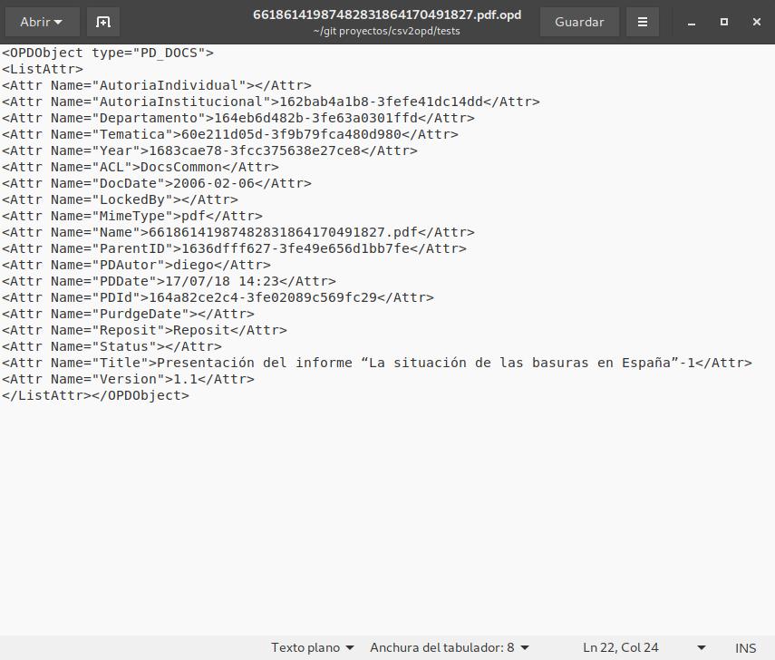 XML de ejemplo