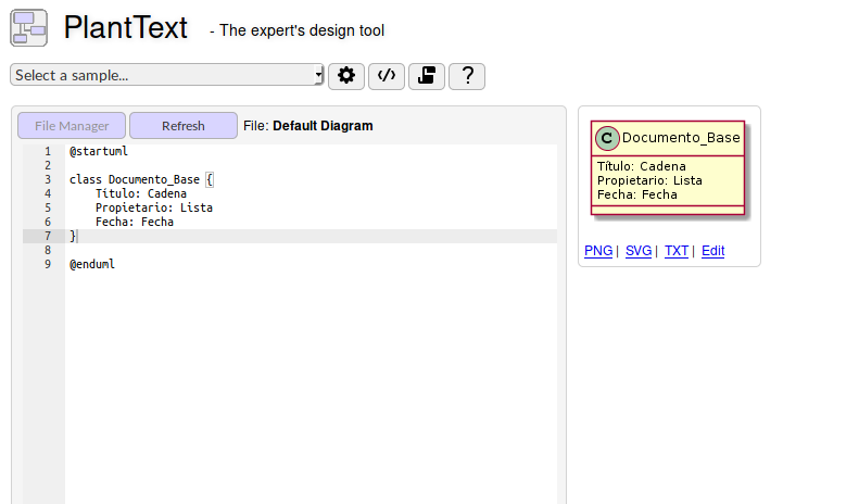 Modelado de esquema de metadatos con PlantUML en PlantText